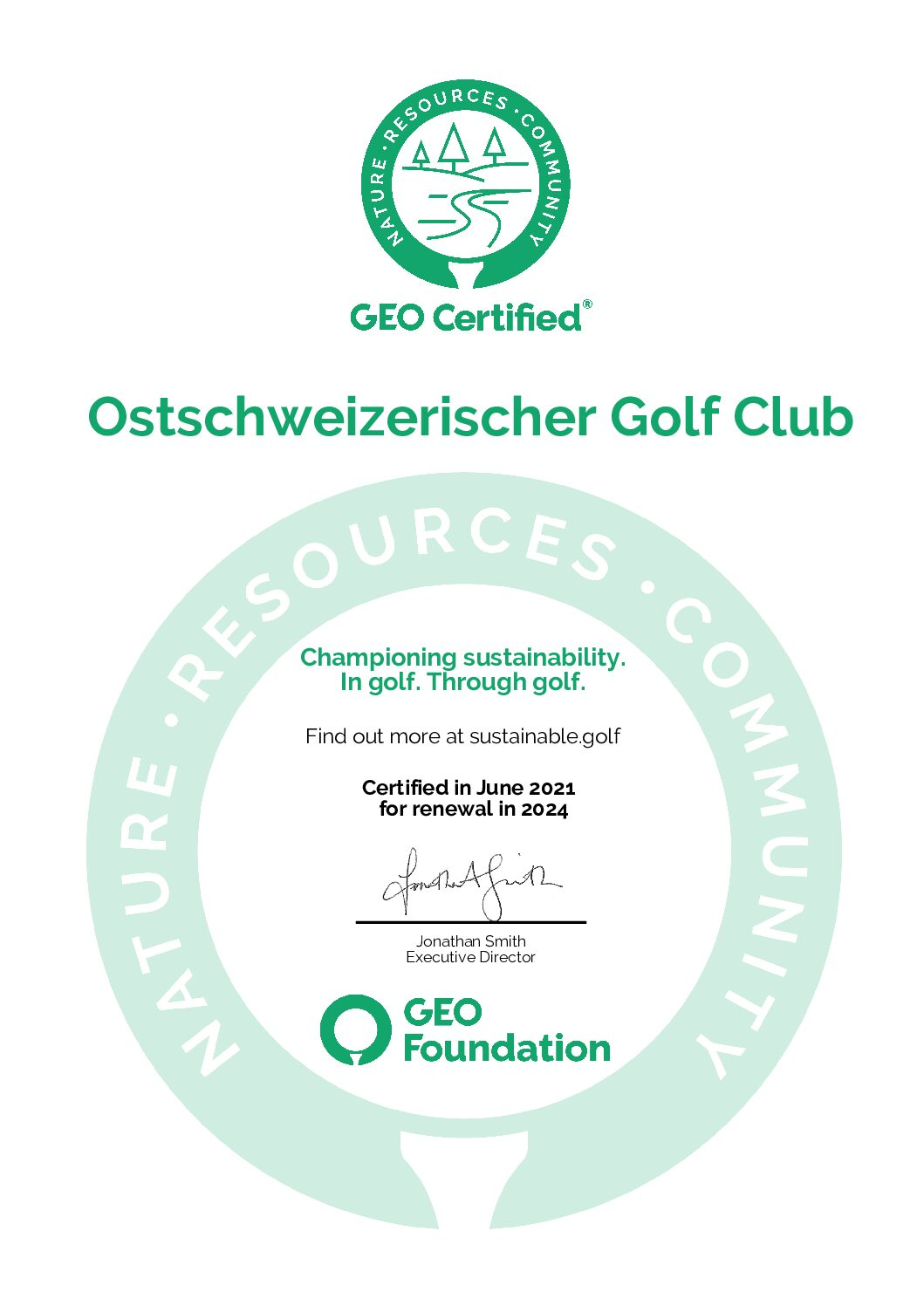 Der OSGC hat die GEO-Zertifizierung!